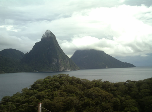 The view from the pool in your suite at Jade Mountain
