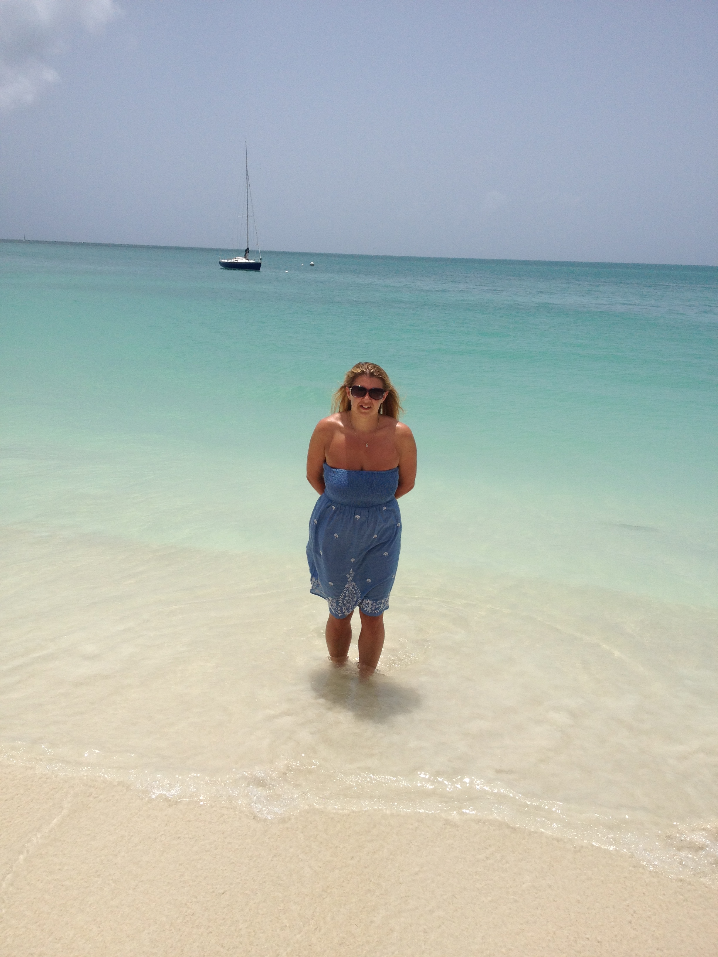 Christina having a little paddle at Sandals Grande Antigua