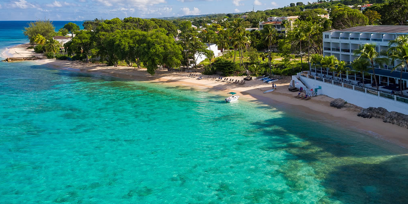 An aerial shot of the beachfront location which Waves Hotel and Spa Barbados accupies