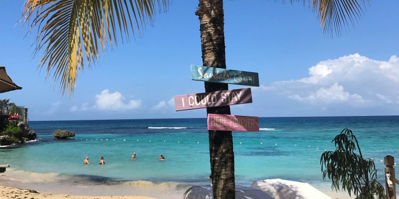 Sandals Ochi Sign with Caribbean Warehouse