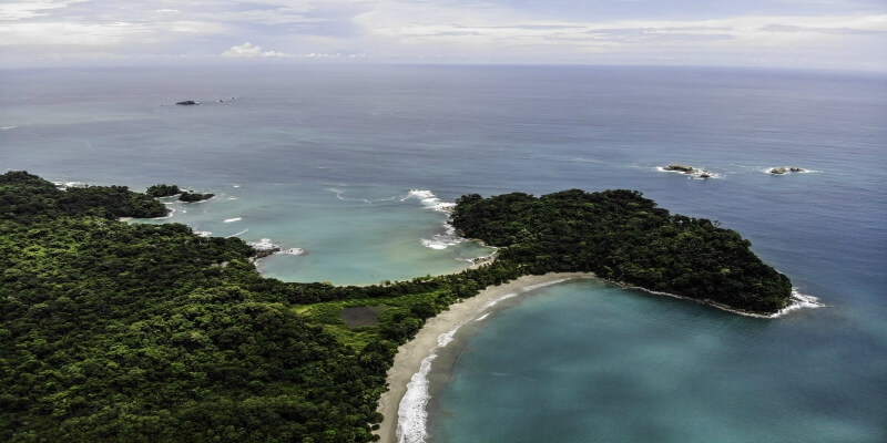 An aerial view of Manual Antonia National Park in Costa Rica