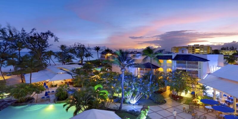 Turtle Beach by Elegant Resorts in Barbados as the sun goes down