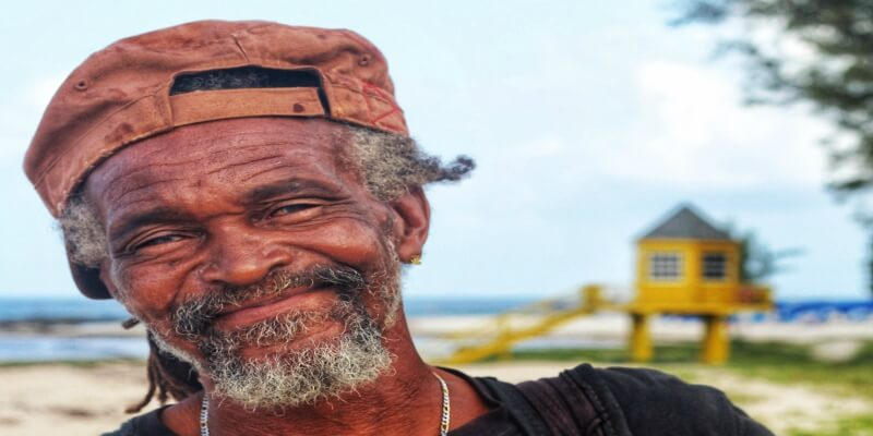 Barbados man smiling to camera