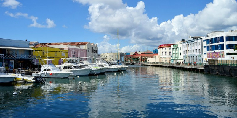 Boats lining the marina in Bridgetown, Barbados
