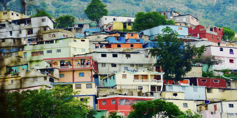 Small houses on a hill in Haiti