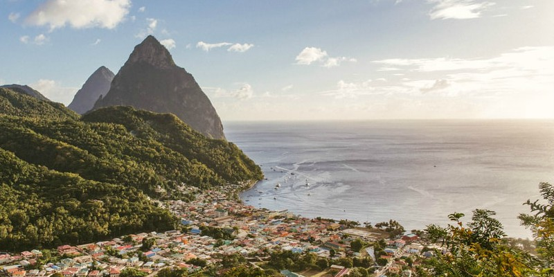 Aerial view of the coast in St Lucia