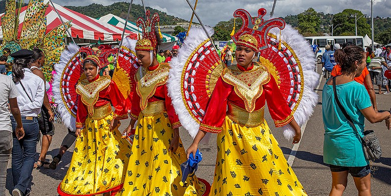 Trinidad people getting ready for Carnival