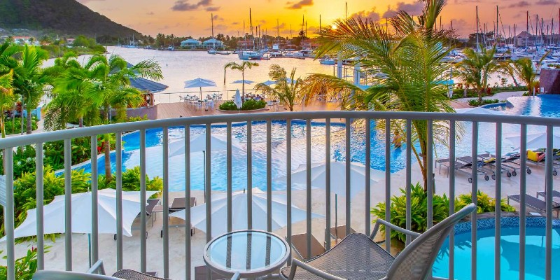 A shot of sunset from the perspective of a room at Harbor Club, St Lucia