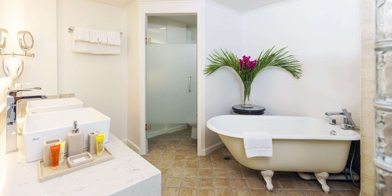 Inside a bathroom at Coco Palm, St Lucia