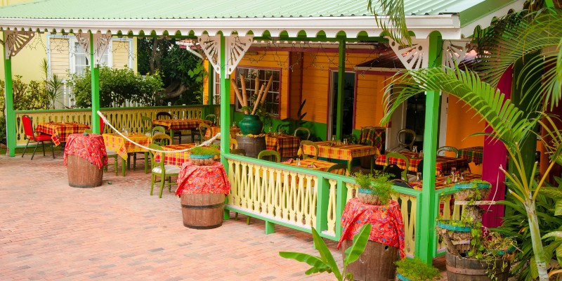 exterior shot of the Creole Grill restaurant at Coco Palm, St Lucia
