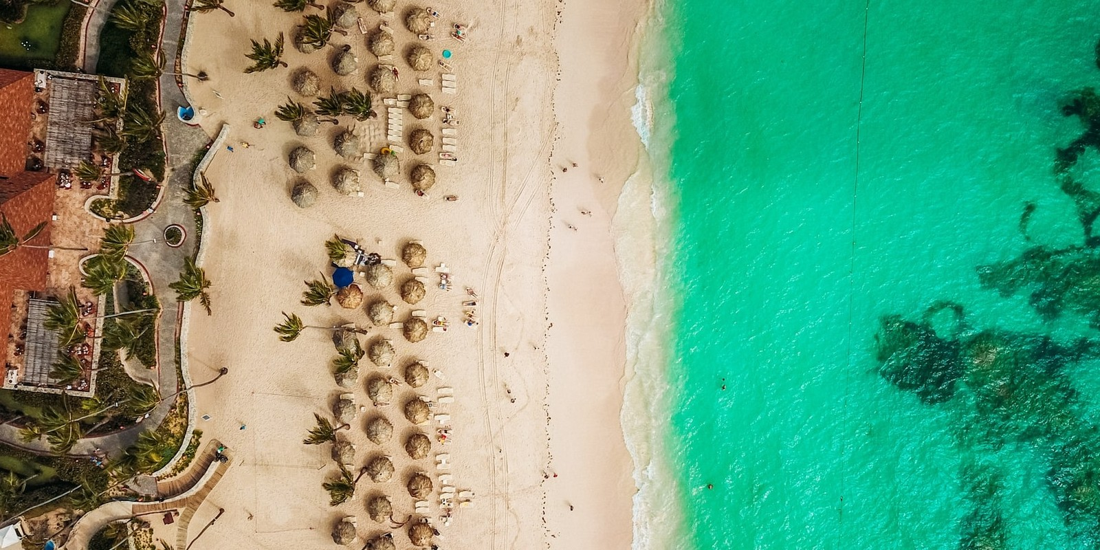 Aerial shot of the Dominican Republic Caribbean coastline