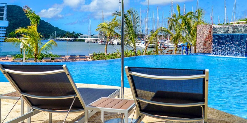 The view of the Rodney Bay Marina from the pool at Harbor Club, St Lucia