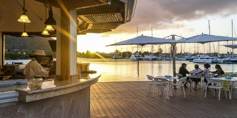 Picture of sunset from the outdoor pizza restaurant at Harbor Club, St Lucia