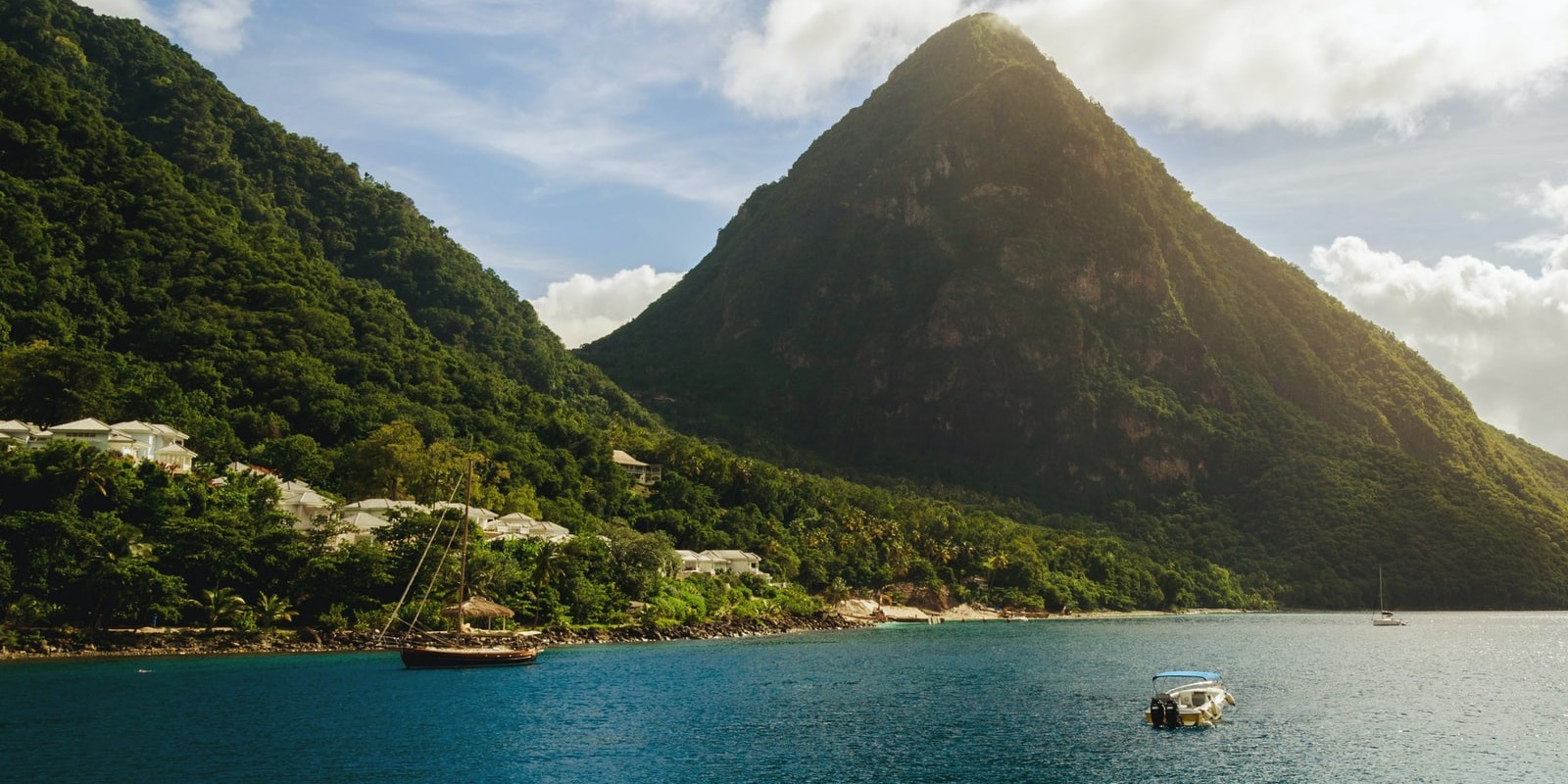 A glorious view of the Pitons from the Caribbean Sea