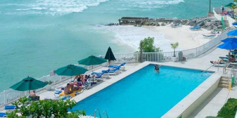 Aerial shot of pool and stunning beachfront