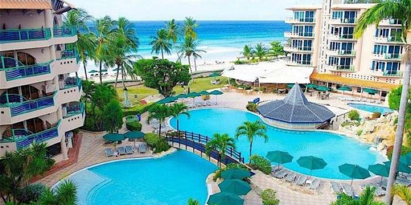 Aerial Shot of Hotel & Pools