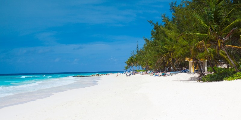 Image of a white sand beach in Barbados