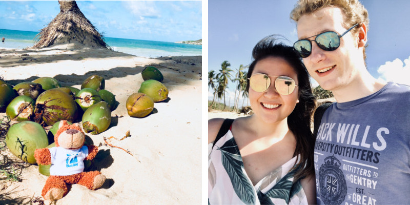 Jennifer and her partner on Macao Beach