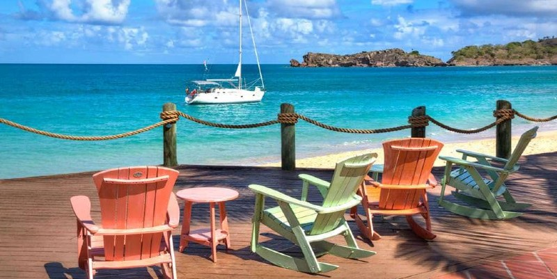 Views from the wooden decking area of the Galley Bay Resort