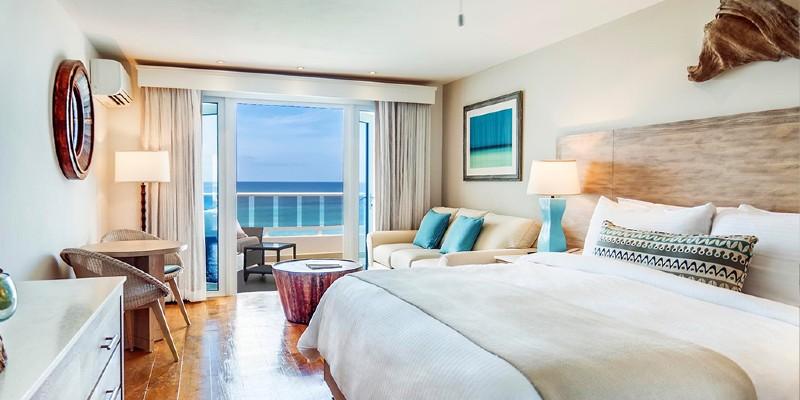 Interior shot of a room at Waves Hotel and Spa Barbados