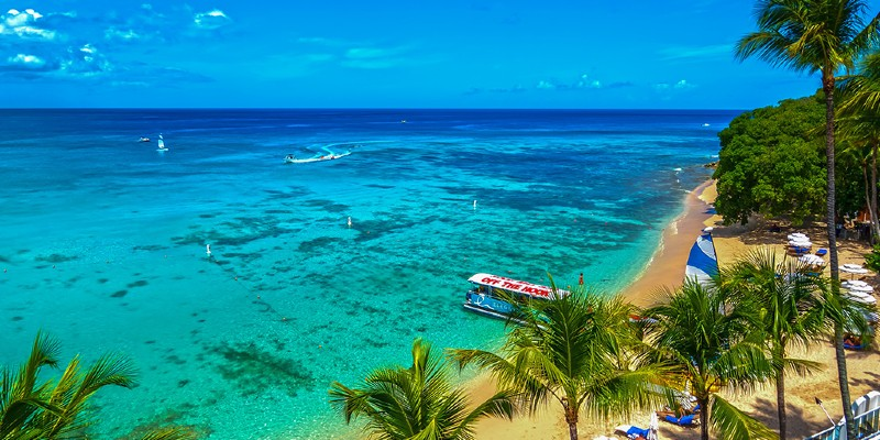 The view of the Caribbean Sea from the perspective of a Sea View Room at Waves Hotel & Spa, Barbados