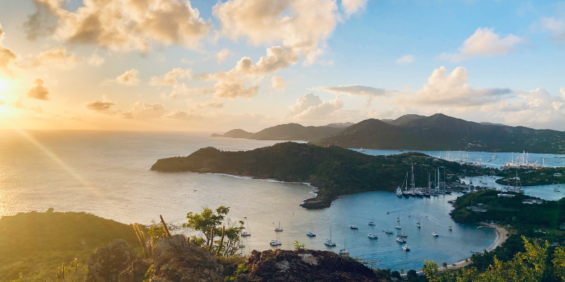 The sun setting in Antigua