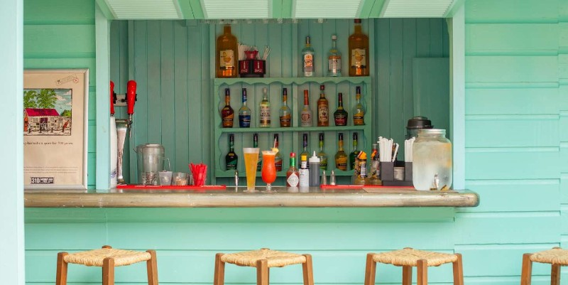 Drinks wait on a bar in Barbados