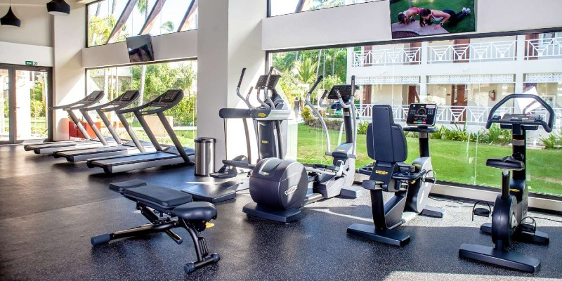 Equipment ready for use in the resort fitness centre