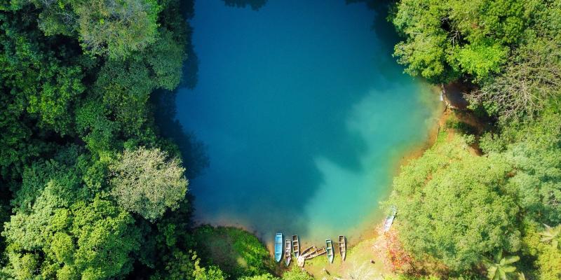 Aerial view of Laguna Cristal