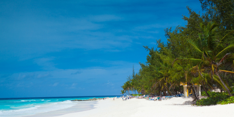 The blue skies at a Barbados beach